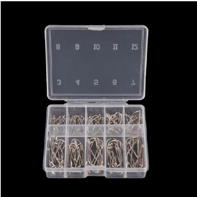 100Pcs/Box 10 Sizes Steel Fishing Jig Hooks With Hole Fishhooks Fishing Tackle