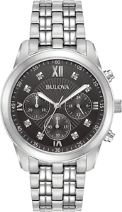 Bulova-Men-039-s-Quartz-Black-Dial-Chronograph-Silver-Tone-40mm-Watch-96D136