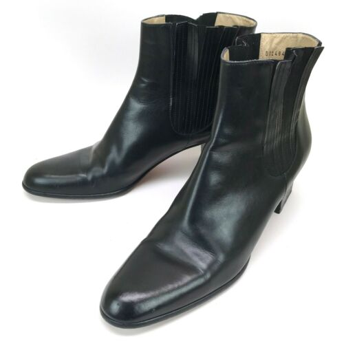 Ferragamo Black Leather Ankle Boots 9.5 AA Narrow