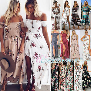ba91dbe3997 Women Summer Vintage Boho Long Maxi Dress Party Beach Dress Floral ...