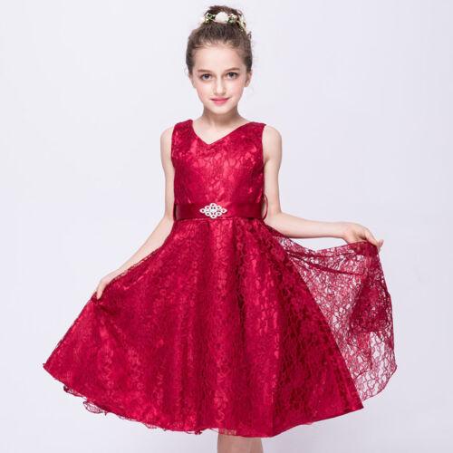 Kids Girls Baby Princess Dress Party Wedding Bridesmaid Lace Tulle Tutu Dresses