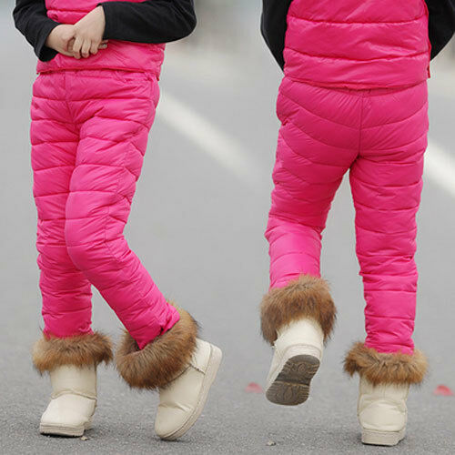Kids Thicken Winter cotton Blend Warm Trousers Leggings boys girls Stretch pants