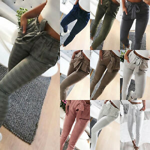 Women-Straight-Leg-Long-Pants-High-Waist-Paperbag-Trousers-Striped-Casual-Skinny