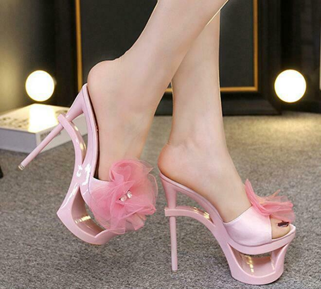 Summer Women Slippers Super High Heels Wedge Pink Platform Nightclub Show Pink