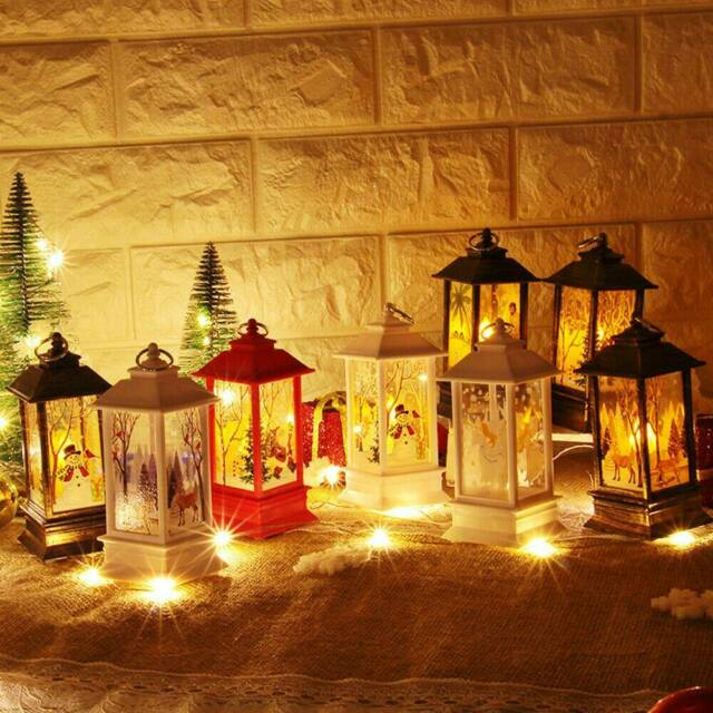 Christmas Santa Claus Snowman Castle Lamp Light Fairy Hanging Lantern Ornament