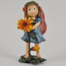 Garden Flower Fairy Holding Orange Petal Ornament Sculpture Statue NEW 39505
