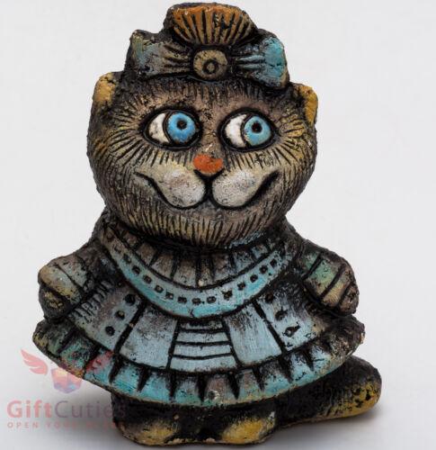 Clay Grog figurine of Cat Kitty souvenir handmade hand-painted