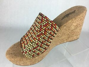 Lucky-Brand-Womens-Wedge-Sandal-Multicolor-Slide-On-Open-Toe-US-Size-8-5-M
