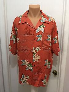 Island-Blue-tropical-Hawaiian-mens-xl-orange-shirt-rayon-floral-short-sleeves