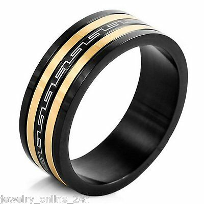 Men's Stainless Steel Biker Silver GoldBlack  3-Tone Ring Optional US8-13Jewelry