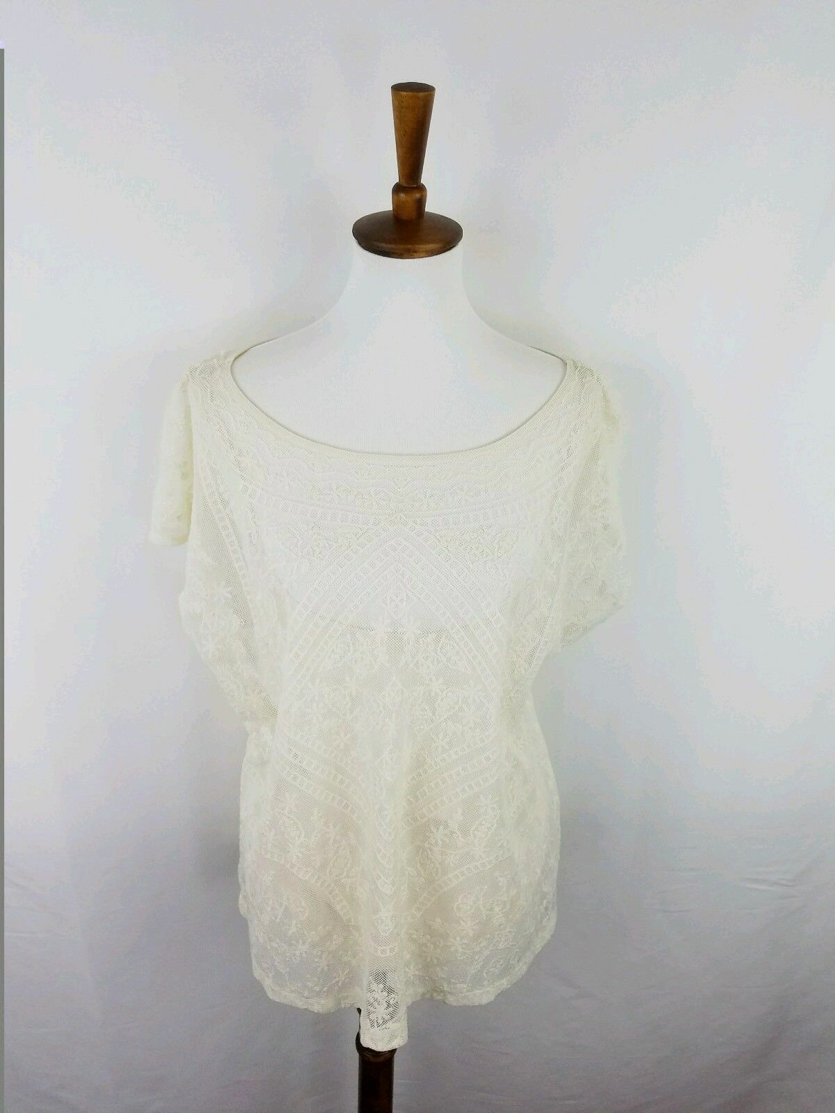 Ralph lauren cream colord sheer lace shell with attached cami NWT 89.50