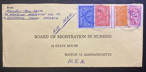 1950s-Dhahran-Saudi-Arabia-American-Oil-Airmail-Cover-To-Boston-MA-Usa