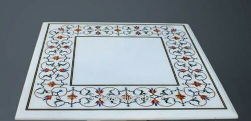 Sofa Table Top with Floral Design Coffee Table Semi Precious Stone Inlaid