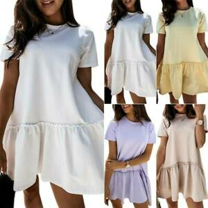 Womens-Ruffle-Short-Sleeve-Smock-Dress-T-Shirt-Mini-Summer-Holiday-Loose-Casual