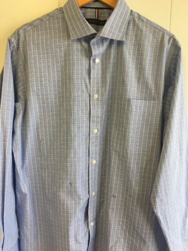 TOMMY HILFIGER Men/'s Blue Plaid//White Long Sleeve dress shirt.Pick your size #56