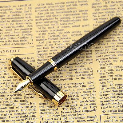 Profession Writing BAOER 388 Black Metal Fountain Pen Gold Trim Size Medium Nib