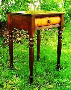 Cherry Amp Birdseye Sheraton Federal Furniture Antique Nightstand Side Table 1795 Ebay