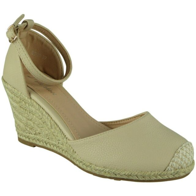 95b6c5bb612b Womens Ladies Ankle Strap Espadrilles Platform Shoes Mid Heel Wedge ...