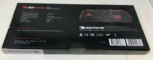 New iBuyPower ARES E1 Gaming Spill Resistant Keyboard Black Red
