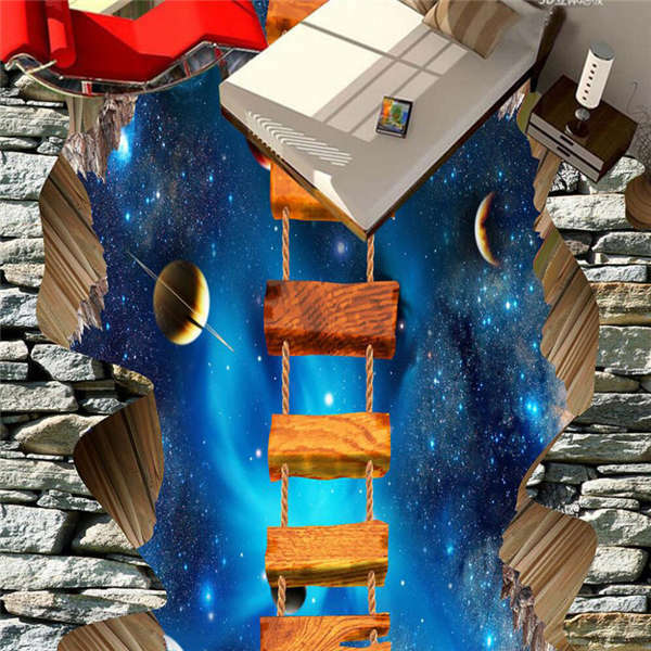 Wood Ladder To Out Space 3D Floor Mural Photo Flooring Wallpaper Home Wall Decal