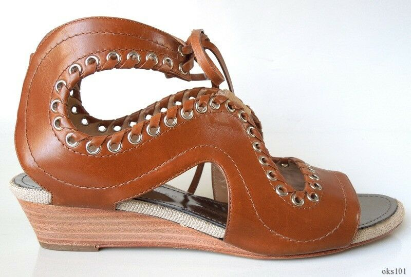New  PROENZA SCHOULER brown cut-out GLADIATOR FLATS shoes 36 US 6 - AMAZING