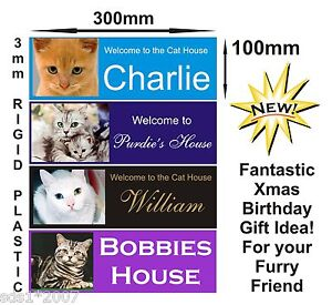 Image Is Loading Personalised Cats House Plaque Sign With Photo Name