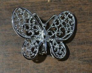 GERRY'S Silvertone Butterfly Brooch/Pin Vintage Accent Jewelry