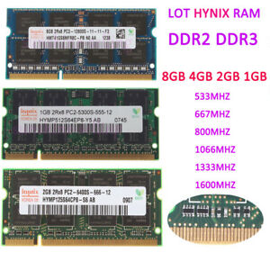 LOT-8GB-4GB-2GB-For-Hynix-PC2-5300-6400-1066-1333MHZ-Laptop-Memory-DDR2-DDR3-RAM