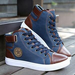 Mens-Fashion-Oxfords-Casual-High-Top-Shoes-Leather-Boots-Canvas-Lace-Up-Sneakers