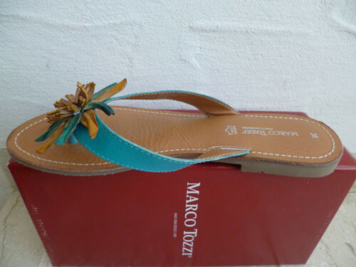 Details about  /Marco Tozzi Toe Sandal Mules Sandals Leather Turquoise New