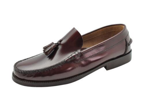 Zapato Castellano Borlas Negro Burdeos Cuero talla 39 40 41 42 43 44 45 46 47 48