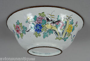 Qing-Dynasty-Chinese-Canton-Enamel-Bowl-Flowers-Birds-Butterfly