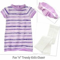 Crazy 8 Girls Size 2t 3t Sweater Dress + Cable Tights + Headband 3-pc Outfit