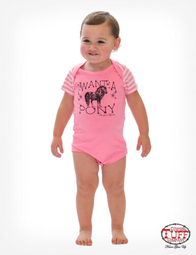 Cowgirl Tuff Infant Pink I Want A Pony Romper S01013