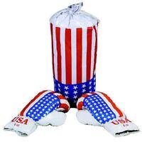 E+l 3-tlg. Boxset Usa Für Kinder Boxsack Und Boxhandschuhe Stars And Stripes
