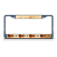 Violin Musical Instrument Style 2 Metal License Plate Frame Tag Border Two Holes