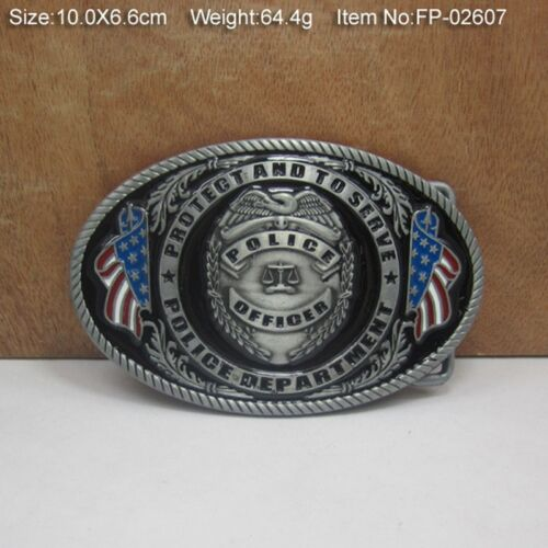 USA American Police Officer Badge Steel Metal Belt Buckle Cool Mens Jewelry