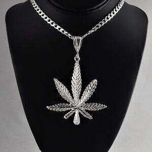 Large-3-3-4-034-Heavy-Solid-925-Sterling-Silver-Cannabis-Leaf-Marijuana-Pendant
