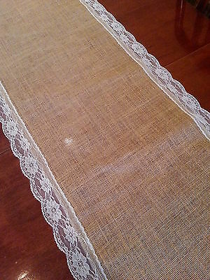 7ft Beautiful Hessian Burlap and Lace Wedding Decorations Table Runners
