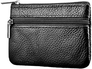Dream Garden Men Women Card Coin Holder Genuine Leather Wallet black