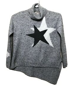 Marbled-Star-Turtleneck-Pullover-Knit-Sweater-Size-S-With-Star-Jacquard-Design