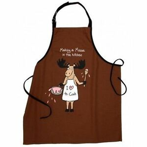 Hatley-Funny-Cotton-Apron-MAKING-A-MOOSE-in-the-KITCHEN-Mess-Barbecue-Chef