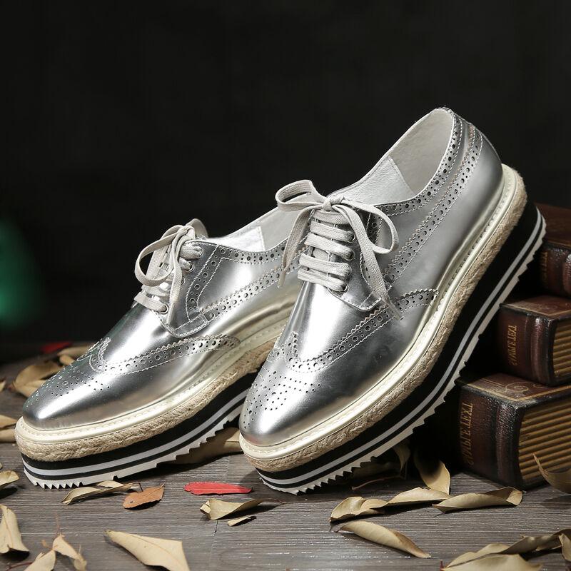 Scarpe casual da uomo uomos British Lace Up Leather Wingtip Brogues Platform Dress/Casual Oxfords Shoes