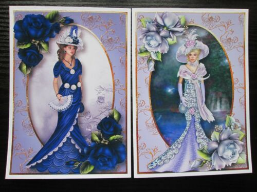 NEW---2 x Large Elegant Lady In Blue /& Lilac Dress Hand Made Card making Toppers