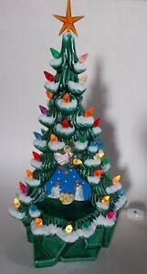 Details About Vintage Lighted Ceramic Christmas Tree With Nativity Scene 15 5 Tall With Base