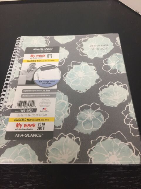 at a glance academic planners 11 x 8 1 2 mint flora 2018 2019