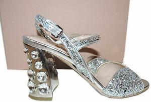 890-Miu-Miu-Prada-Sandals-Silver-Glitter-Crystal-Embellished-Shoes-35