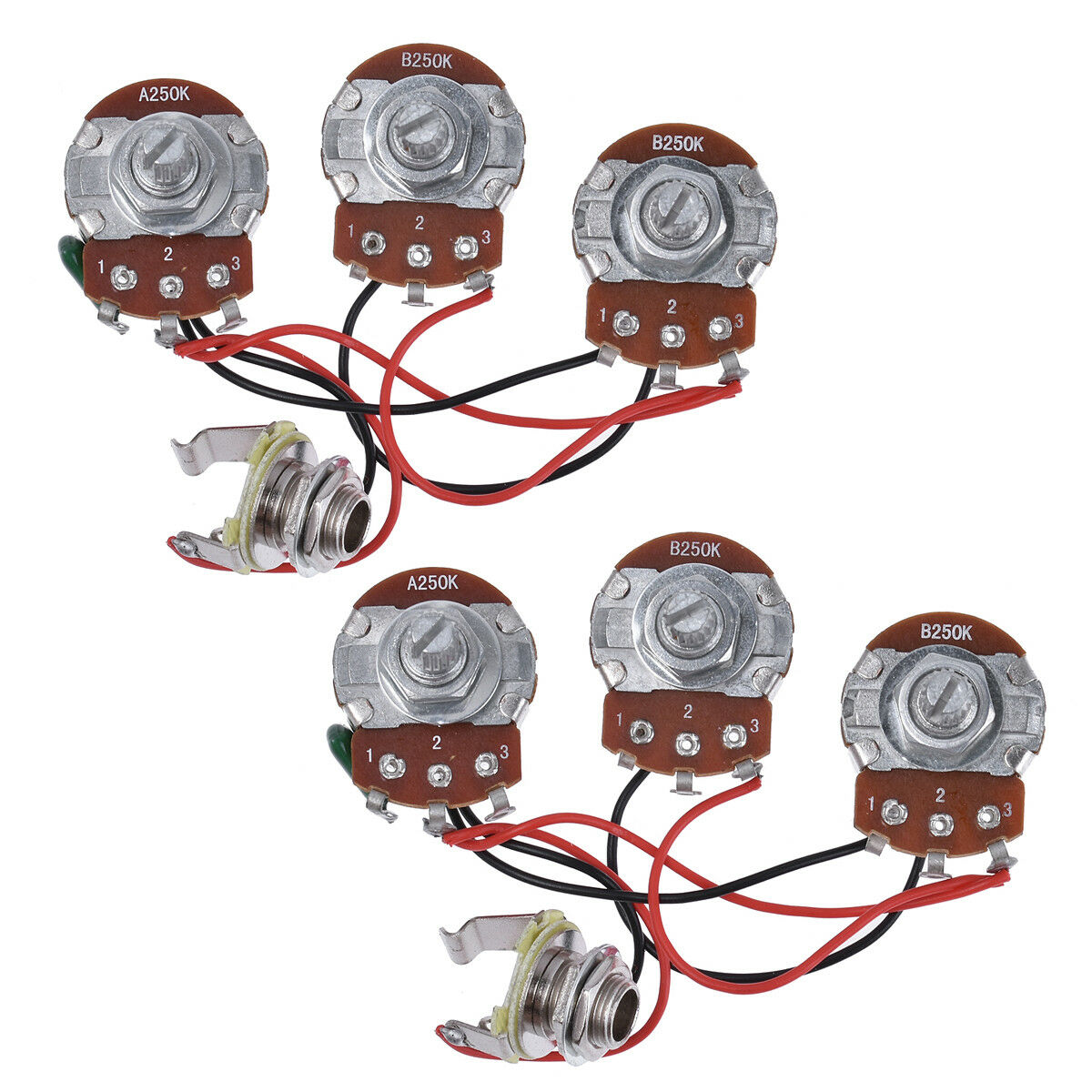 Wiring Harness Prewired Kit 250k Pots 2v1t For Jazz Bass Guitar Set Of Strat 5 Way Blade Switch 500k Full Size Parts 2