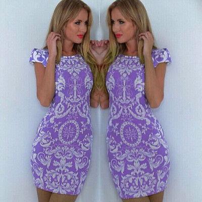 New Summer Women Floral Dress Bandage Bodycon Short Sleeve Mini Dress Elegant