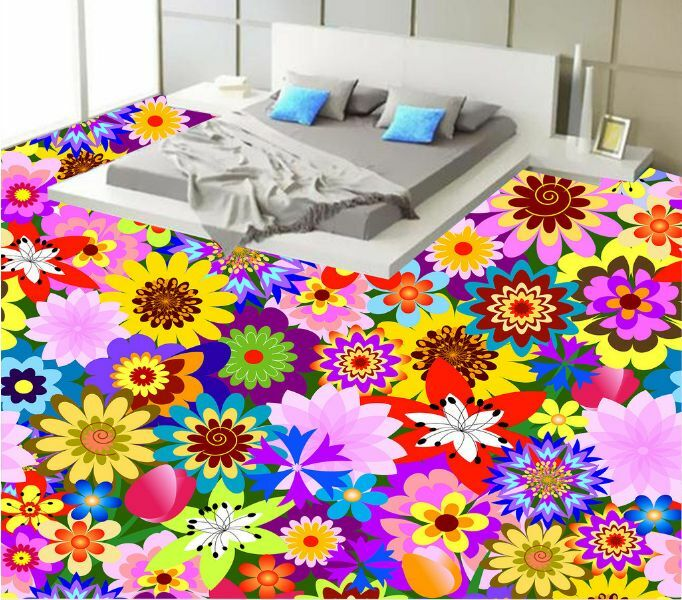 3D Farbeful Nice Flower Floor WallPaper Murals Wall Print Decal 5D AJ WALLPAPER